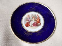 ANTIQUE DISPLAY PLATE GOLD BEADED RIM PICTURE PANEL COBALT BLUE EMPIRE PORCELAIN